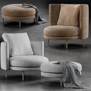 minotti torii armchair 3D model