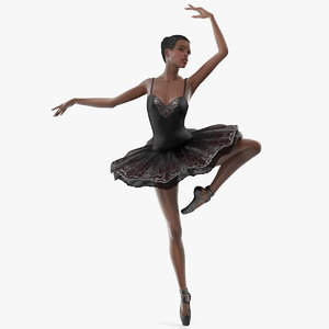 dark skinned black ballerina 3D