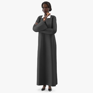 3D dark skin judge woman model