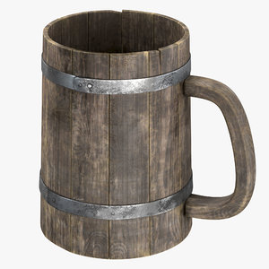 wooden cup pbr 8k model