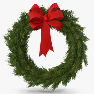 christmas wreath red bow 3D