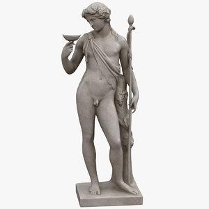 3D dionysus bacchus statue