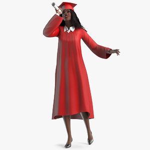 3D dark skin graduation gown