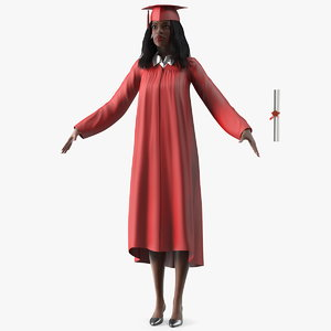 dark skin graduation gown 3D model