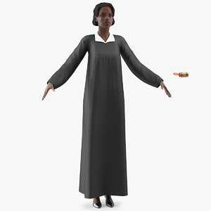 dark skin judge woman 3D model