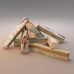3D model firewood fireplace