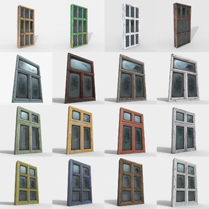 4 windows different pbr 3D model
