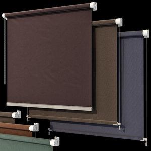 3D roller blinds set windows model