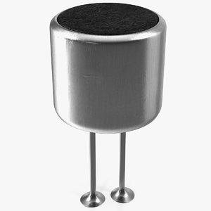 condenser microphone pcb soldered 3D model