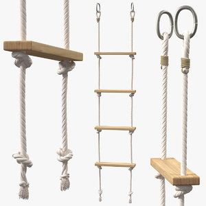 rope ladder wooden rungs 3D model