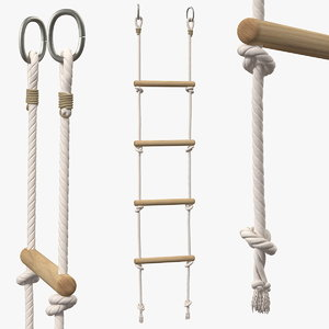 wooden rope ladder 3D