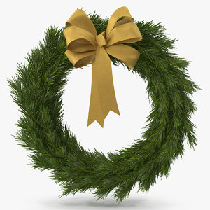 christmas wreath gold bow 3D