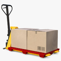 High Lift Pallet Truck with Plastic Pallet and Parcels Rigged