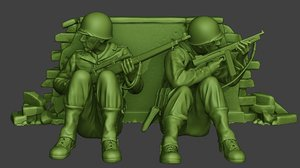 3D american soldiers ww2 cover model
