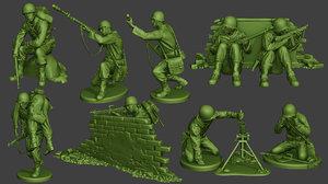 american soldier ww2 pack 3D model