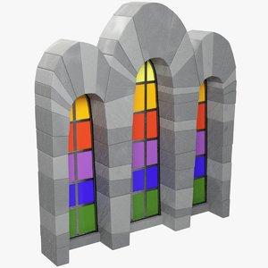 stylized old castle window 3D model