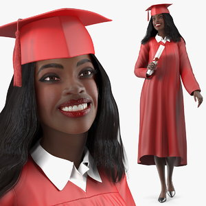 3D dark skin graduation gown model