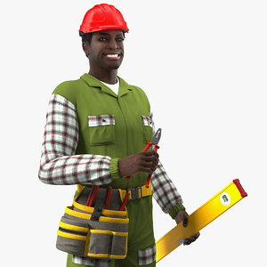 3D dark skinned black builder
