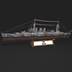 3D model hms norfolk heavy cruiser