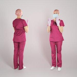 3D human woman uniform character
