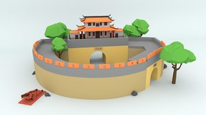 cartoon taiwan historic site 3D model