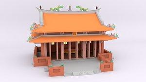 cartoon tainan confucius temple 3D model