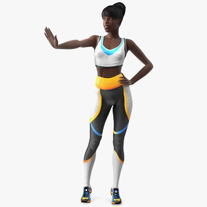 dark skin fitness woman 3D model