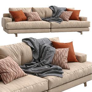 3D model marmont leather sofa papadatos