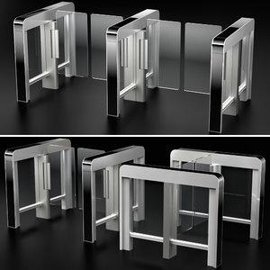 sensor sliding gate turnstiles 3D model