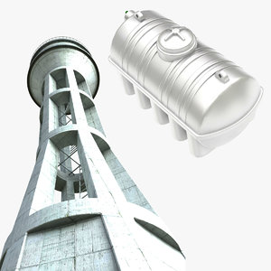 water tank tower 3D model