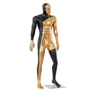 3D male black gold mannequin