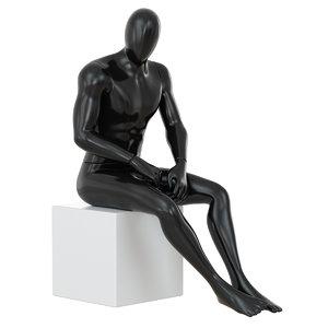 black mannequin sitting white 3D model