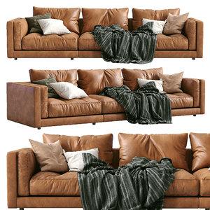 3D flexform leather sofa lucien