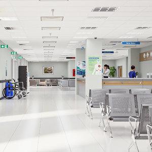 hospital interior exterior 3D model