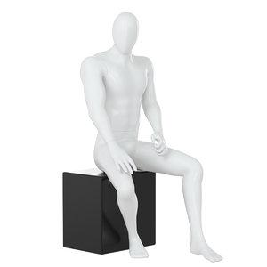male faceless mannequin sitting 3D model