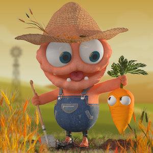 cartoon farmer 3D model