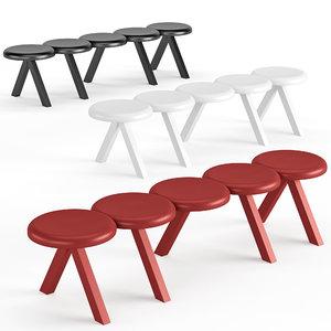 3D bench millepiedi model
