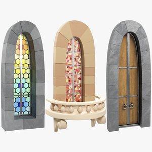 3D stylized old castle windows model
