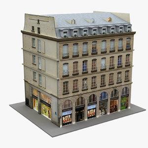 3D typical paris building 01