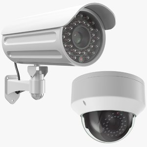 3D real security cameras model