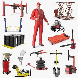 auto mechanic garage equipment 3D