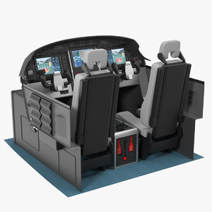 3D business aircraft pilot cockpit