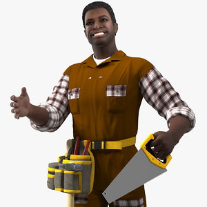 3D afro american carpenter rigged model