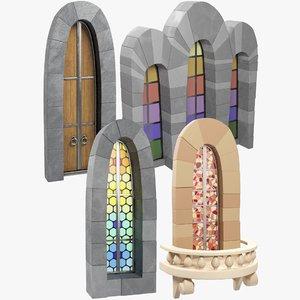 stylized old castle windows 3D model