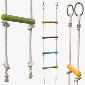 colored wooden rope ladder 3D