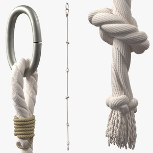 3D model knotted climbing rope
