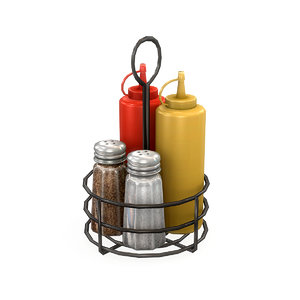 cafe condiment caddy mustard 3D model