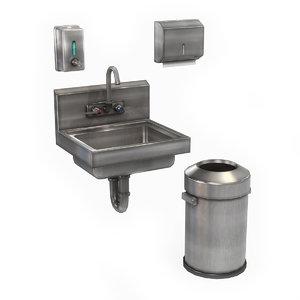 3D model commercial hand wash station