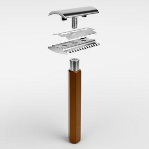 3D safety razor hex model