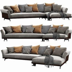 flexform este chaise lounge 3D